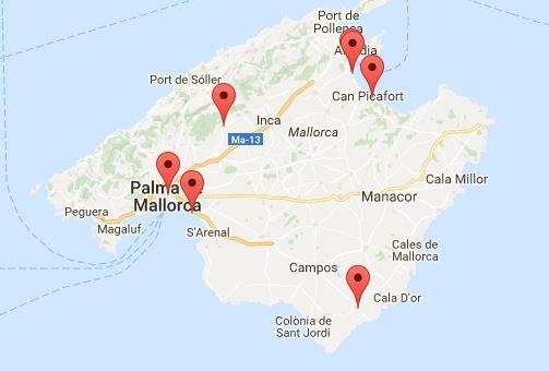 Hier sehen Sie sämtliche Verleihstationen von ebike-mallorca.com